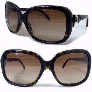 CHANEL Sunglasses CC Logo Bow Brown